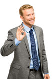 Sinal feliz da aprovação do homem do homem de negócios - retrato no fundo branco Foto de Stock Royalty Free
