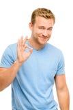 Sinal feliz da aprovação do homem - retrato no fundo branco Fotos de Stock Royalty Free