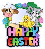 Sinal feliz de Easter com animais Fotos de Stock Royalty Free