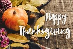 Sinal feliz do texto da ação de graças na abóbora de outono com folhas e w Fotografia de Stock