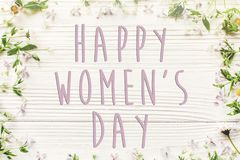 Sinal feliz do texto do dia do ` s das mulheres, cartão simples margarida fresca l Fotos de Stock