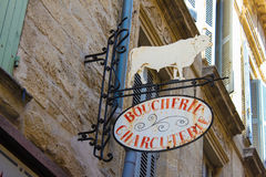 Sinal francês dos carniceiros fotos de stock
