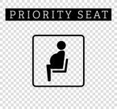 Sinal grávido, da mamã ou da mãe Assento para clientes, ícone especial da prioridade do lugar isolado no fundo Imagens de Stock Royalty Free