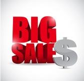 Sinal grande do negócio da moeda do dólar da venda Imagens de Stock