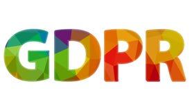 Sinal grande GDPR do arco-íris Foto de Stock