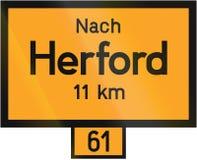 Sinal Herford da distância Foto de Stock
