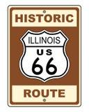 Sinal histórico da rota 66 de Illinois Imagem de Stock Royalty Free