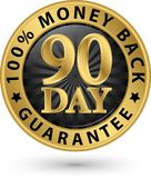 90 - sinal 100%, illustrati dourado da garantia traseira do dinheiro do dia do vetor Fotografia de Stock