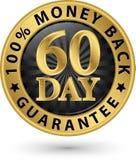 60 - sinal 100%, illustrati dourado da garantia traseira do dinheiro do dia do vetor Fotografia de Stock Royalty Free