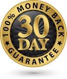 30 - sinal 100%, illustratio dourado da garantia traseira do dinheiro do dia do vetor Foto de Stock Royalty Free