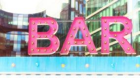 Sinal iluminado rosa da barra Imagem de Stock Royalty Free