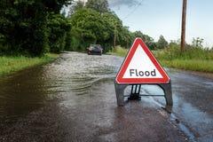 Sinal inundado lado da estrada fotografia de stock royalty free