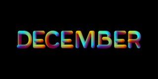 sinal iridescente do mês de dezembro do inclinação 3d Imagem de Stock Royalty Free
