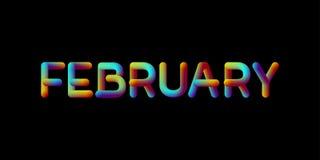 sinal iridescente do mês de fevereiro do inclinação 3d Fotos de Stock Royalty Free