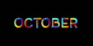 sinal iridescente do mês de outubro do inclinação 3d Ilustração Stock