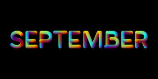 sinal iridescente do mês de setembro do inclinação 3d Fotografia de Stock