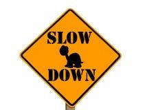 Sinal lento com silhueta da tartaruga Fotografia de Stock Royalty Free