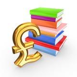 Sinal libra esterlina e de livros coloridos. Imagens de Stock Royalty Free
