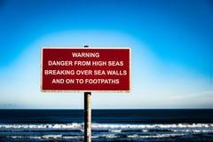 Sinal litoral do perigo Foto de Stock