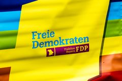 2019: FDP free democracy sign at the Gay Pride parade also known as Christopher Street Day CSD in Munich, Germany