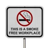 Sinal livre de fumo do local de trabalho Imagens de Stock Royalty Free