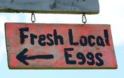 Sinal local fresco dos ovos Imagens de Stock Royalty Free