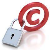 Sinal lustroso vermelho dos direitos reservados com cadeado em um branco Fotos de Stock Royalty Free