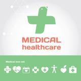 Sinal médico dos cuidados médicos com grupo do ícone Foto de Stock