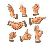 Sinal masculino da mão Punho, como, aperto de mão, aprovação, apontando o dedo ilustração stock