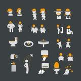 Sinal masculino e fêmea com grupo do ícone do toalete ilustração stock