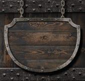 Sinal medieval na ilustração de madeira do fundo 3d Imagem de Stock Royalty Free