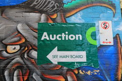 Sinal Melbourne da ação da casa da arte da rua dos grafittis Foto de Stock Royalty Free