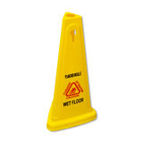 Sinal molhado escorregadiço do assoalho do cuidado amarelo etiquetado em inglês e no franco Fotografia de Stock