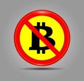 Sinal não aceitado do bitcoin do vetor Ícone não permitido cripto dos monets com círculo vermelho Bandeira em um fundo cinzento C Fotos de Stock