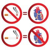 Sinal não fumadores e do coração Imagem de Stock
