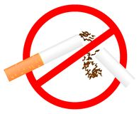 Sinal não fumadores. Ilustração Imagens de Stock Royalty Free