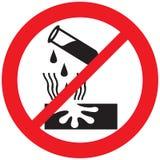 Sinal não permitido corrosivo do aviso do perigo ilustração stock