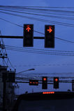 Sinal na estrada da noite Imagem de Stock