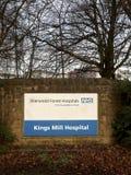 Sinal na parte dianteira dos reis Moinho Hospital Nottinghamshire, Inglaterra fotografia de stock royalty free