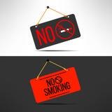 Sinal não fumadores do vetor Placa proibida cigarro Imagem de Stock Royalty Free
