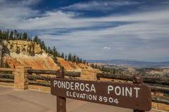 Sinal no ponto de Ponderosa em Bryce Canyon Imagem de Stock Royalty Free
