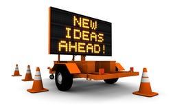 Sinal novo da construção de estradas das idéias adiante - Foto de Stock Royalty Free
