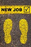 Sinal novo da marca do trabalho e de verificação Imagem conceptual foto de stock