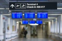 Sinal - o terminal, verific dentro Fotos de Stock Royalty Free