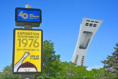 Sinal olímpico da expo do aniversário de Montreal 40th Imagem de Stock Royalty Free