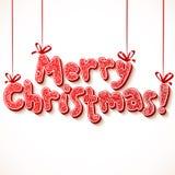 Sinal ornamentado do vermelho do vetor do Feliz Natal ilustração do vetor