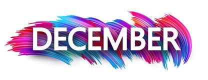 Sinal ou bandeira de dezembro com projeto colorido do curso da escova no whi ilustração stock