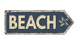 Sinal oxidado do metal do vintage da praia ilustração do vetor