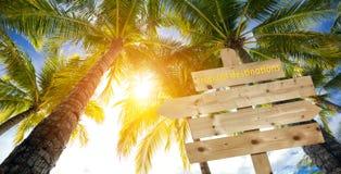 Sinal, palmeiras e destinos tropicais imagens de stock royalty free