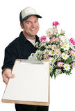Sinal para a entrega da flor imagem de stock